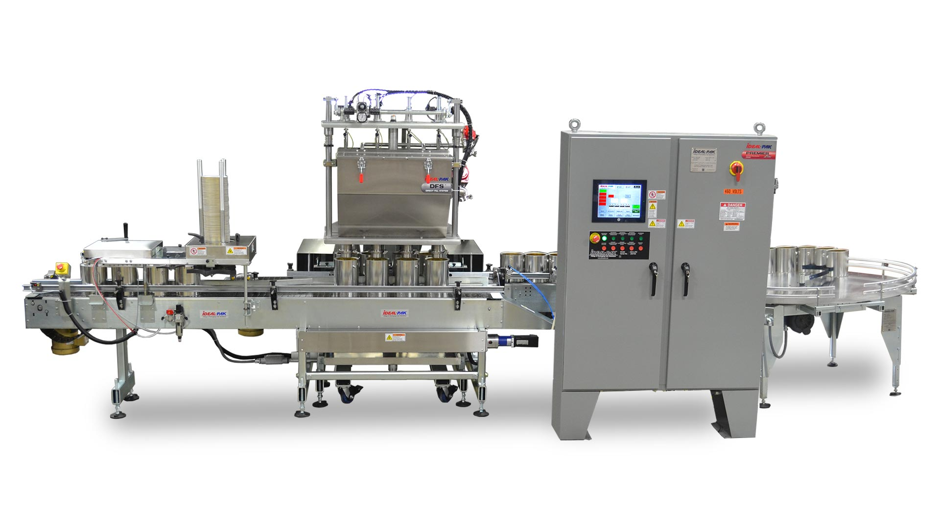 4 Head Automatic Net Weight Filling Machine with Lateral Container Transfer