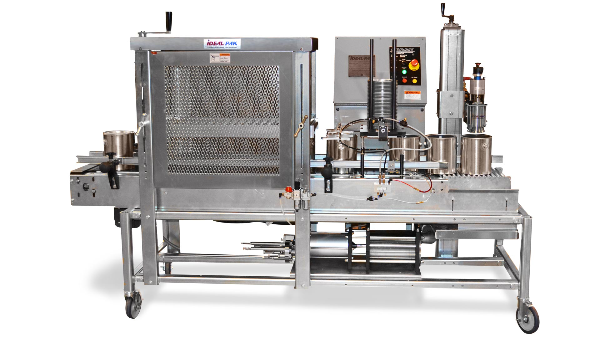 Semi-Automatic Volumetric Liquid Filler for Gallon Cans with Roller Closer