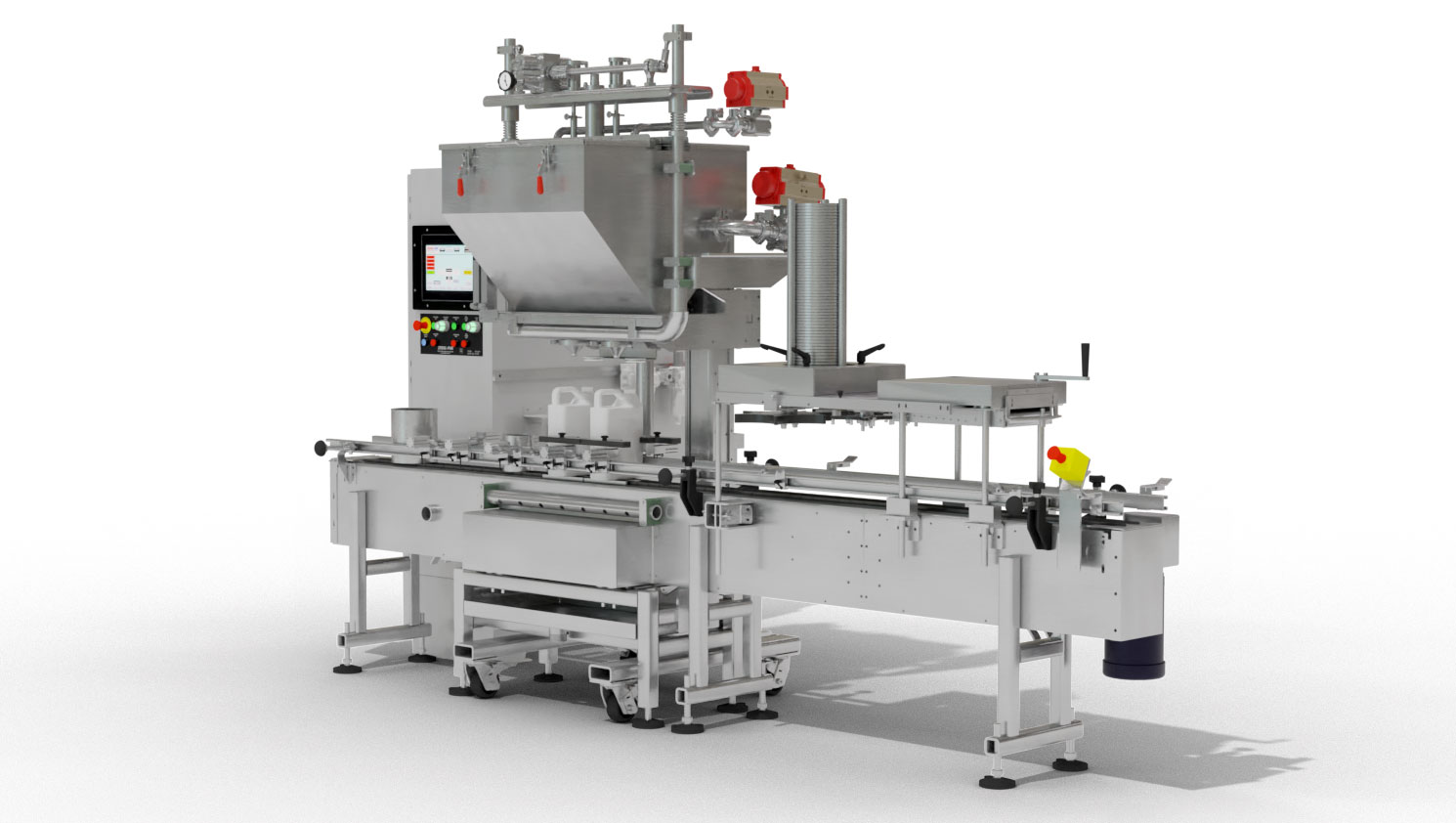 2 - Head In -line Automatic Net Weight Filling & Closing Machine for 1/2 Pint to Gallon Containers with DFS Fill Cart