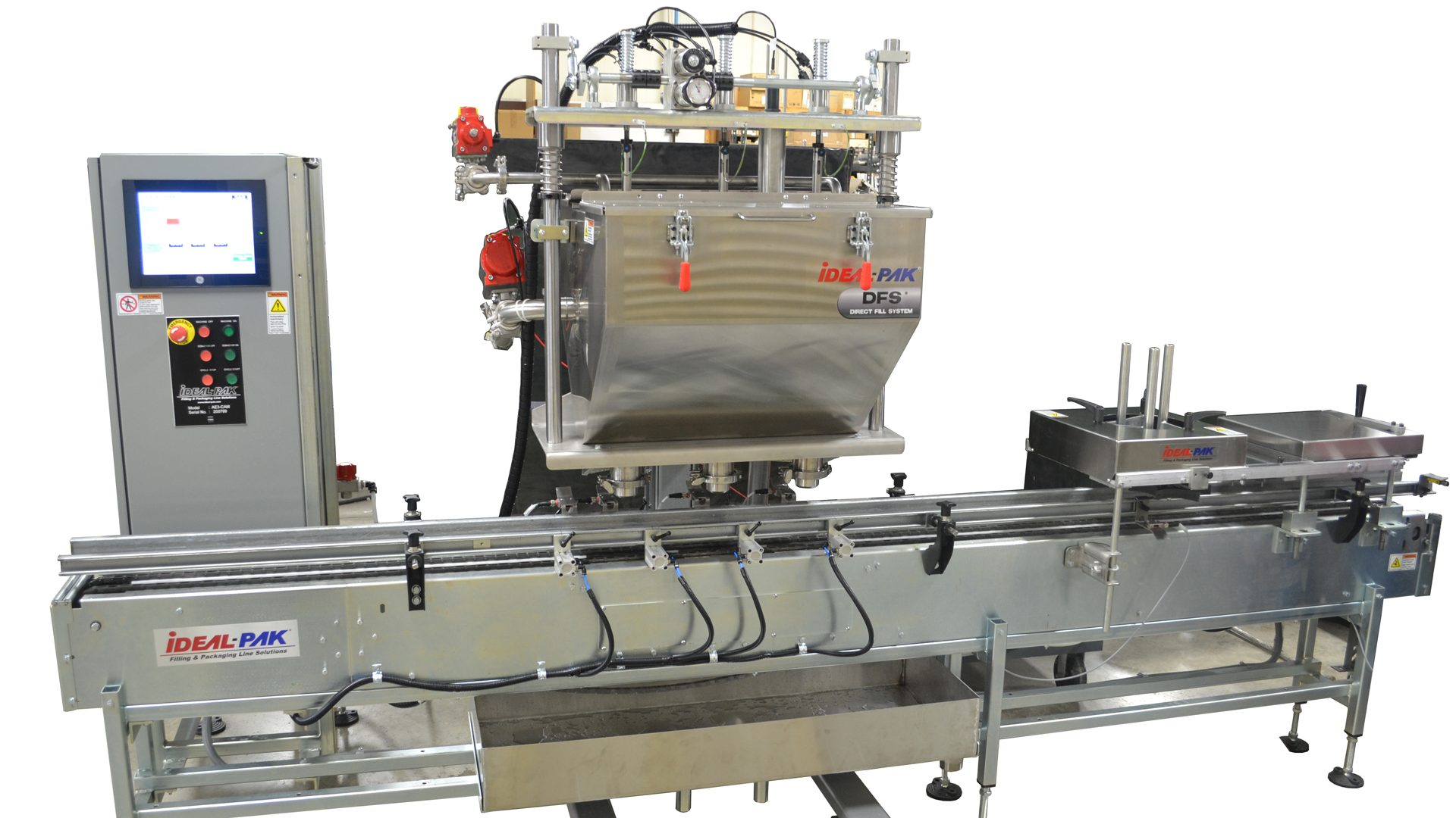3-head filling machine with DFS Cart for Pint to Gallon Cans.
