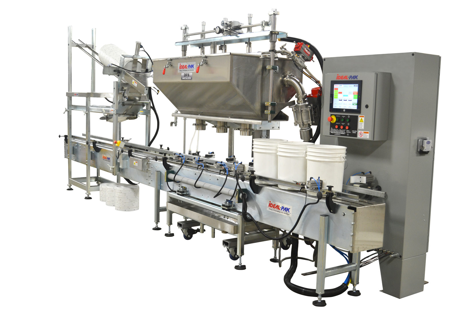 3 Head Filler with DFS Cart. 5 Gallon Plastic Pails with Automatic High Speed Lid Placer