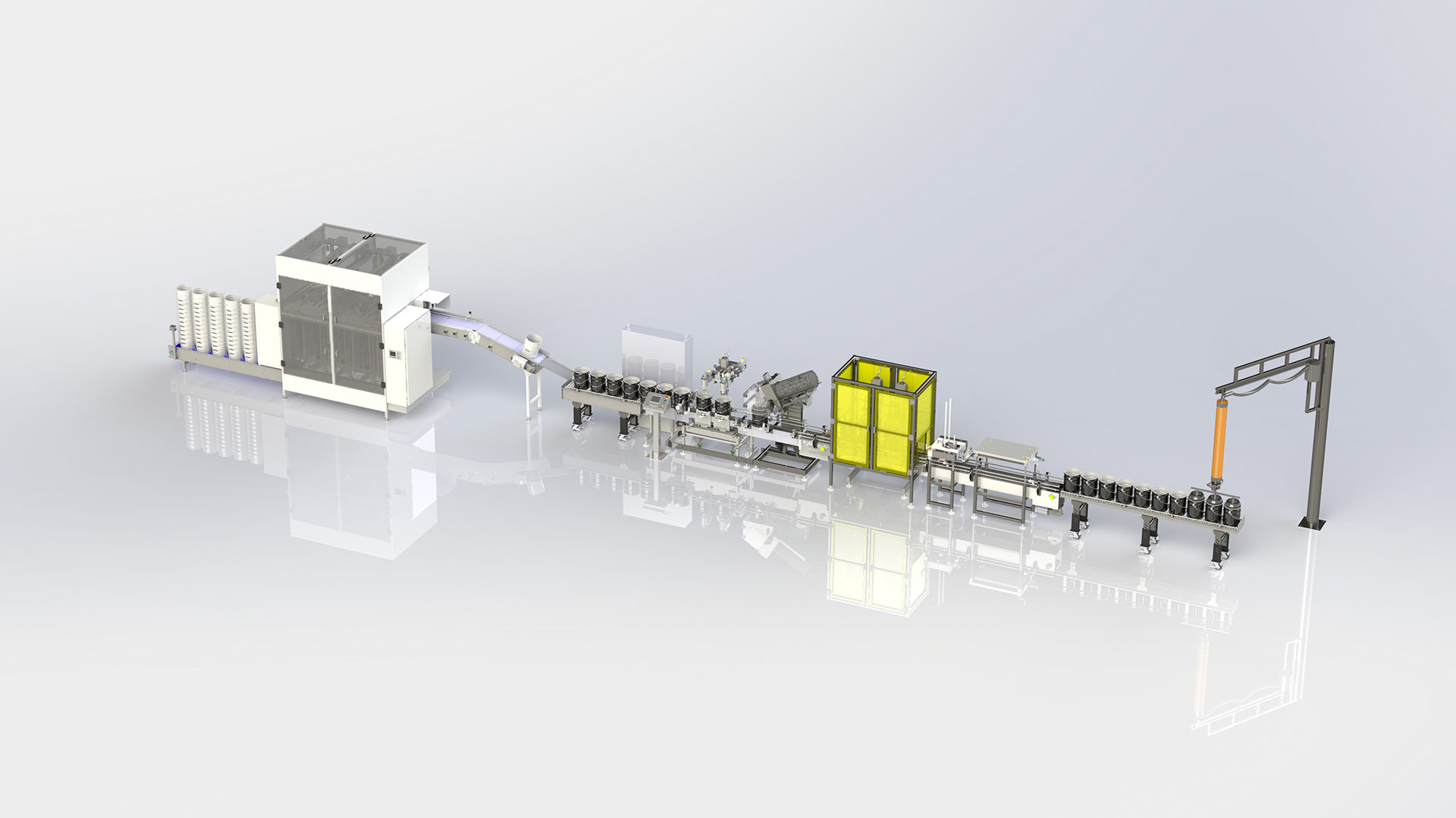 Automatic Pail Filling Line with Denester