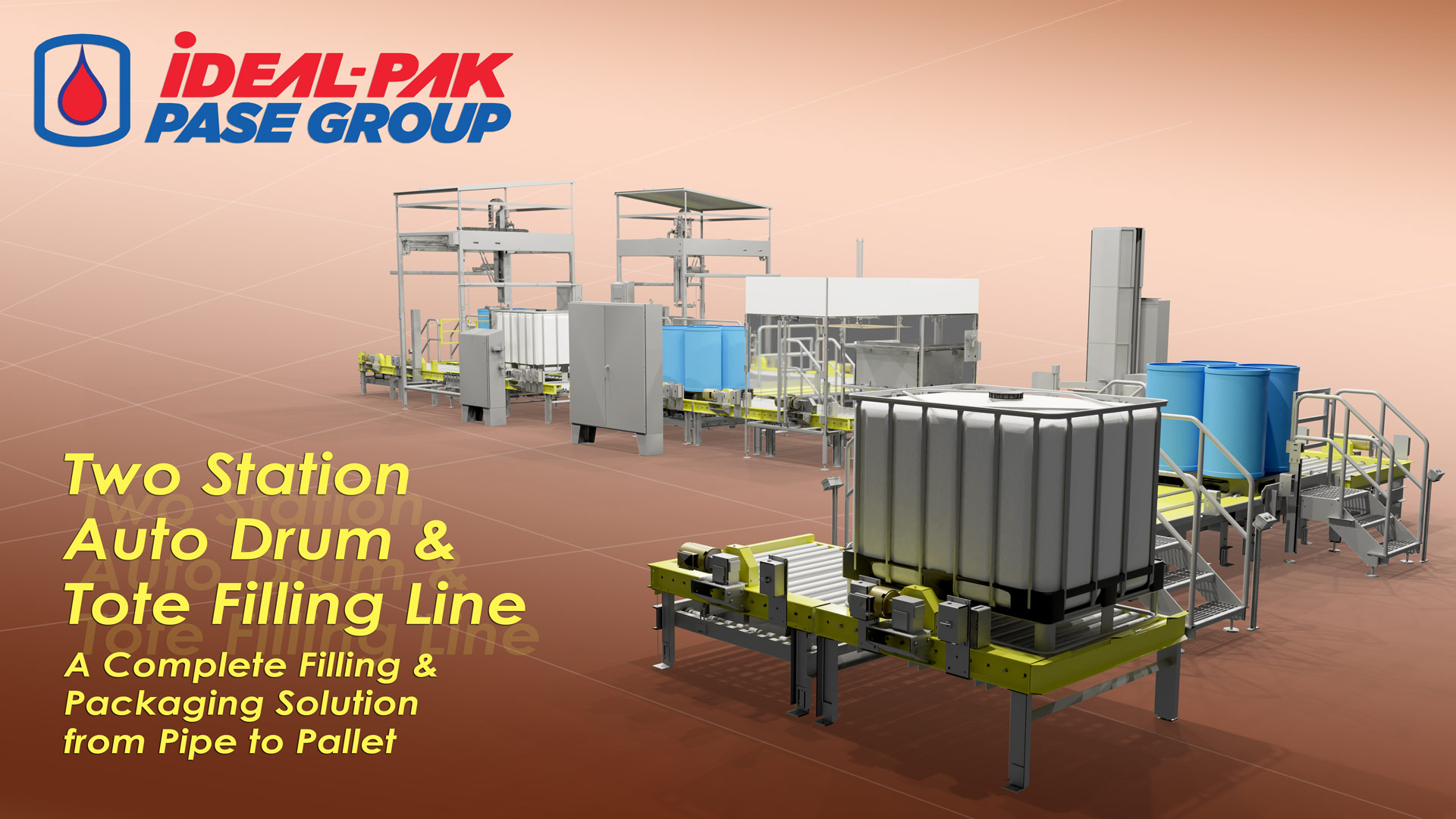 Complete integrated filling line for Drum & Totes.