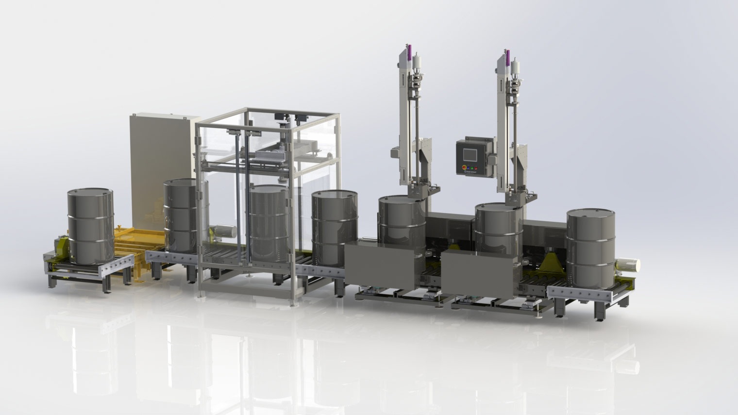 Automatic Drum Filling line with auto bung location, auto filling and auto bung attachment.