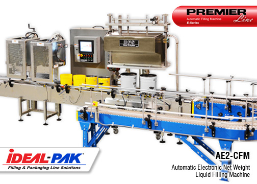 Image of Ideal-Pak® AE2-CFM Automatic Electronic Net Weight Liquid Filling Machine.